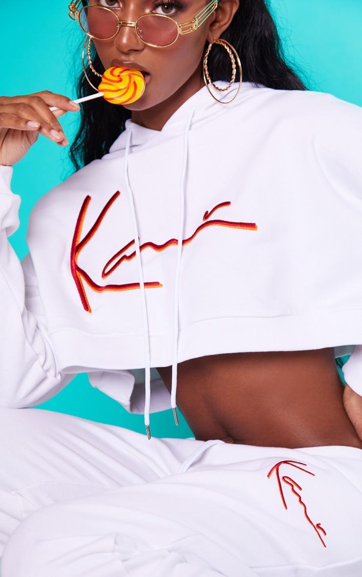 KARL KANI White Embroidered Crop Hoodie 6