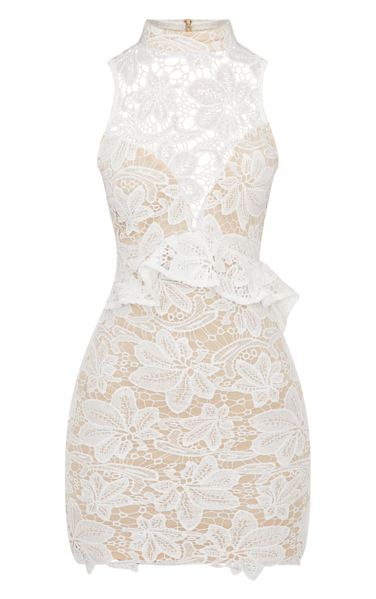 White Lace High Neck Frill Detail Bodycon Dress 3