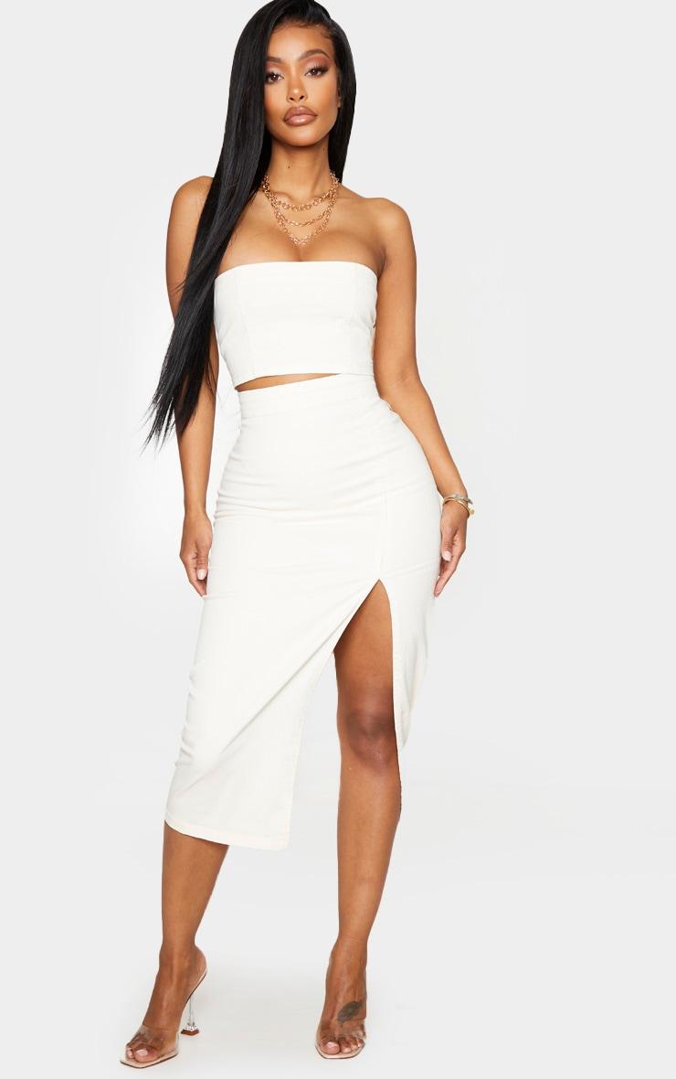 Shape Ecru Denim Split Front Midi Skirt 1
