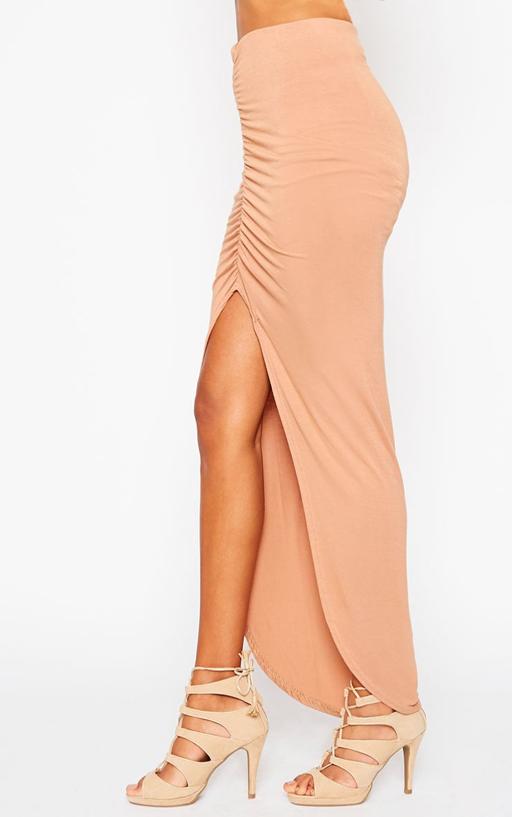 Omari Camel Ruched Front Jersey Maxi Skirt 3