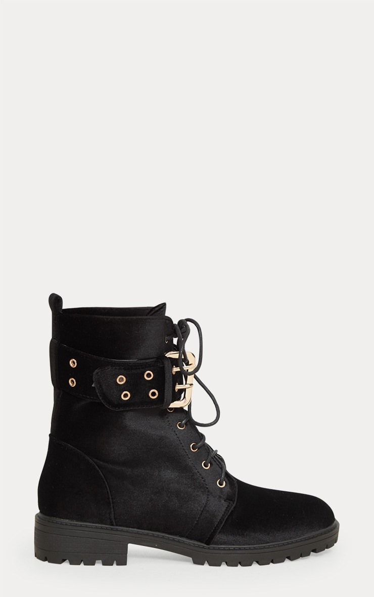 Black Buckle Side Biker Boot 3