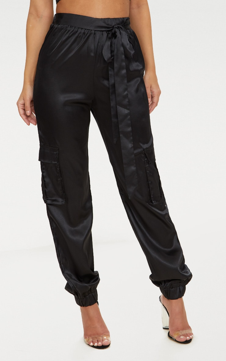 Petite Black Satin Cargo Pants 2