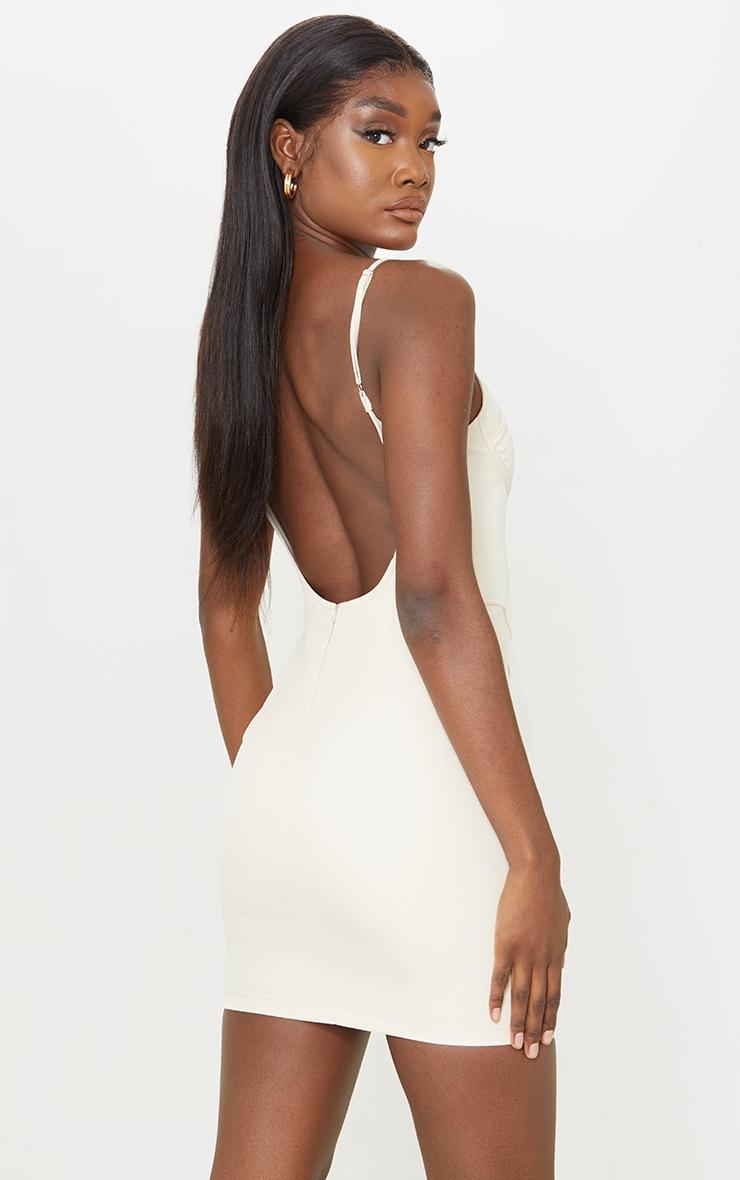 Tall Stone Low Back Corset Detail Bodycon Dress