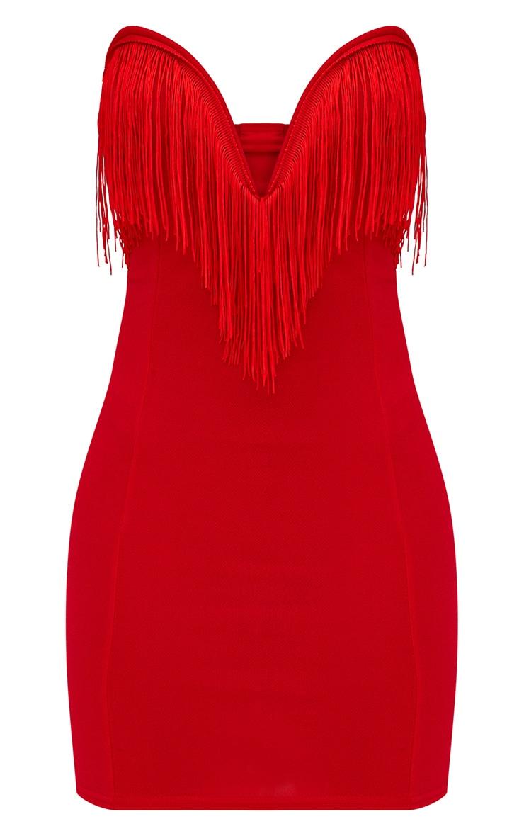 Petite Red Tassel Bandeau Bodycon Dress 3