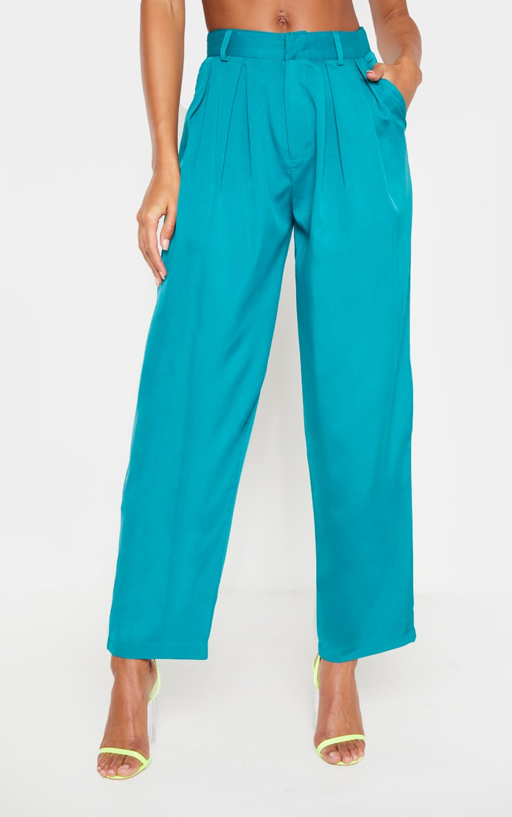 Teal Woven High Waisted Cigarette Trouser 2