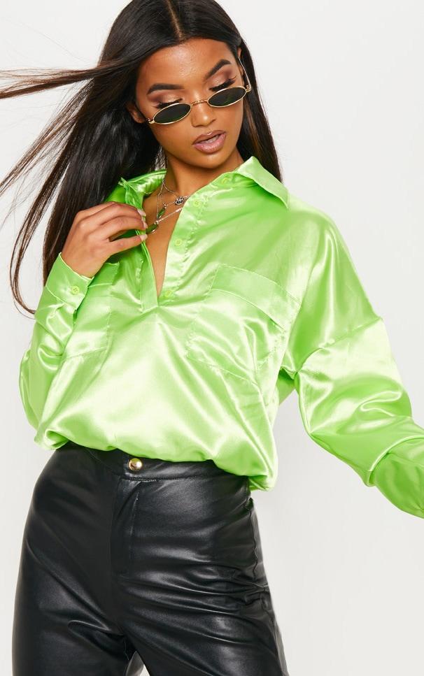 Dark Lime Satin Elasticated Hem Crop Shirt by Prettylittlething