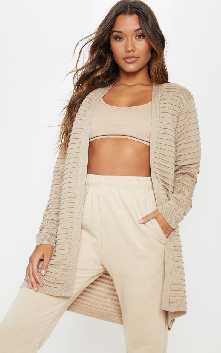 Stone Chunky Ribbed Knitted Cardigan 1