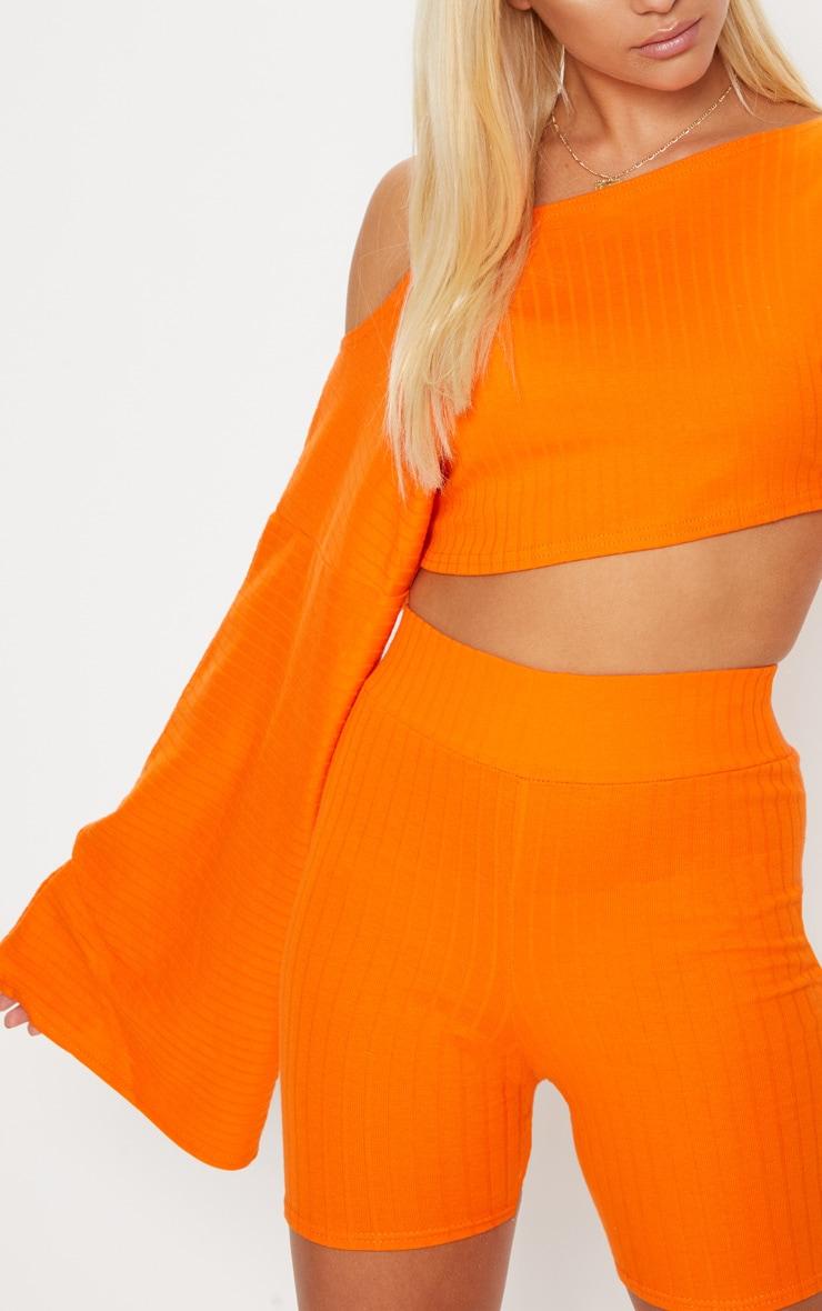 Orange Rib Off The Shoulder Crop Top 5