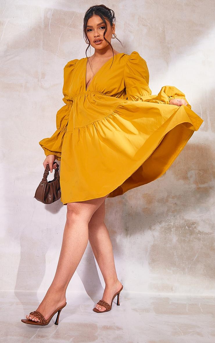 Plus Mustard Tiered Puff Sleeve Dress 1