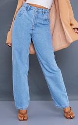 Petite Mid Wash Seam Detail Wide Leg Jeans 2