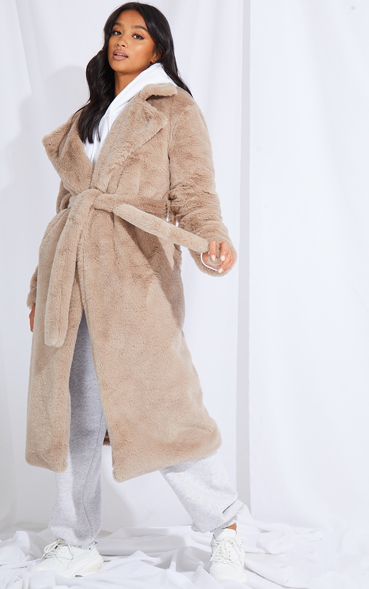 Petite Taupe Belted Faux Fur Coat 1
