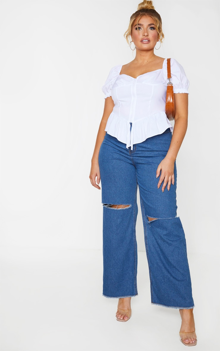 Plus Mid Wash Wide Leg Knee Rip Jean 1