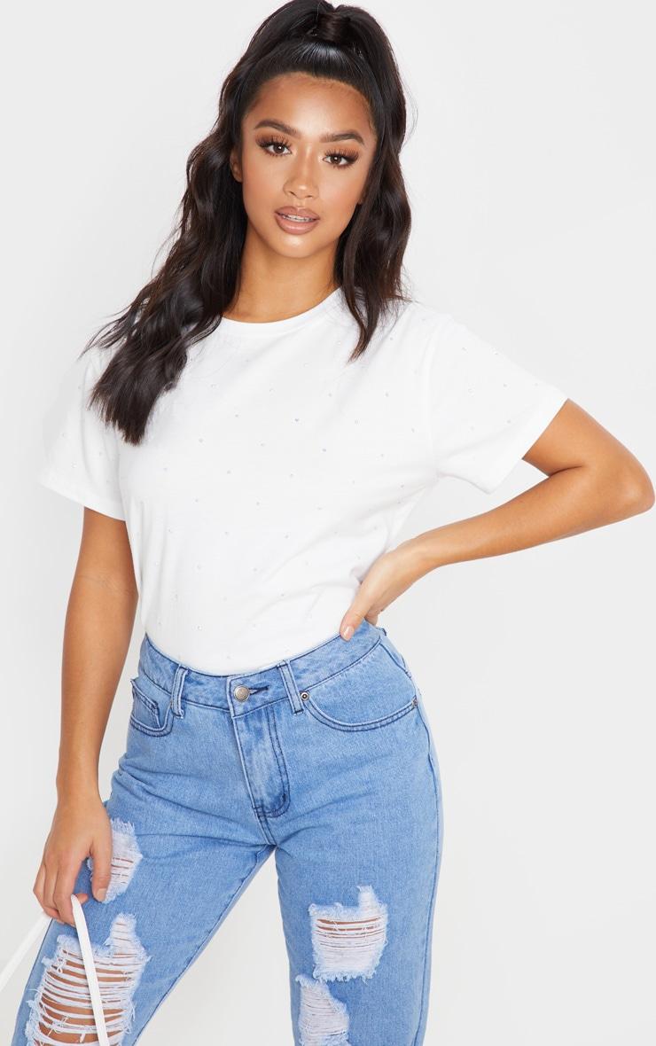 Petite White Diamante T-Shirt  1