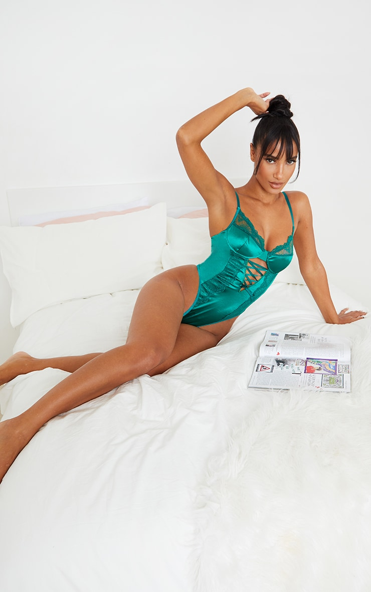 Emerald Green Lace Up Lace And Satin Body 3