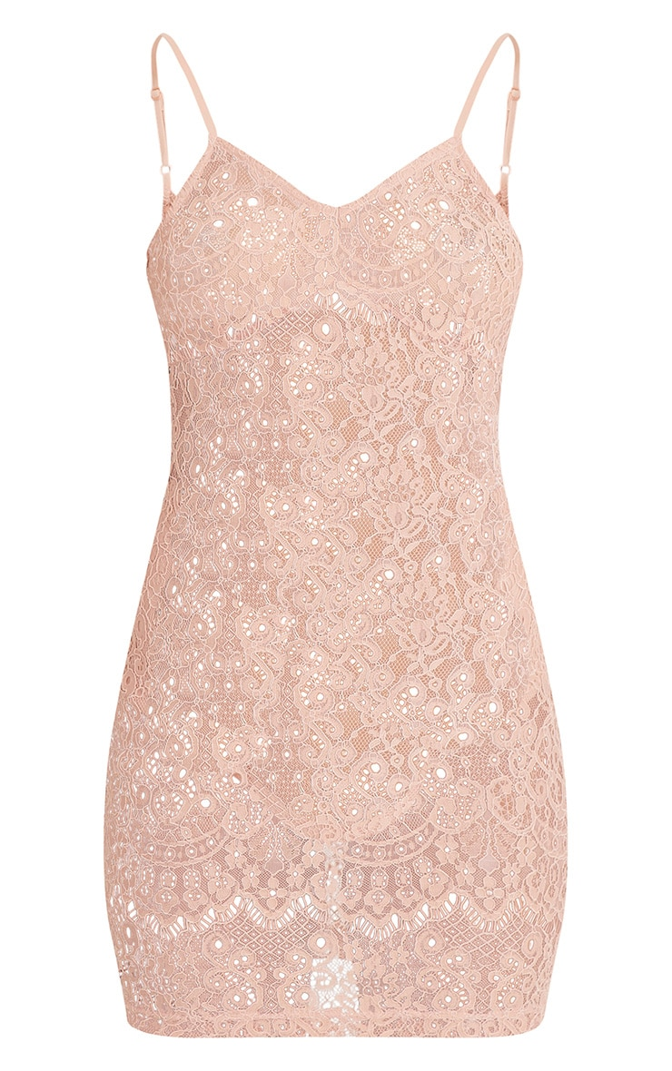 Laysie Nude Strappy Cup Detail Sheer Lace Bodycon Dress 3