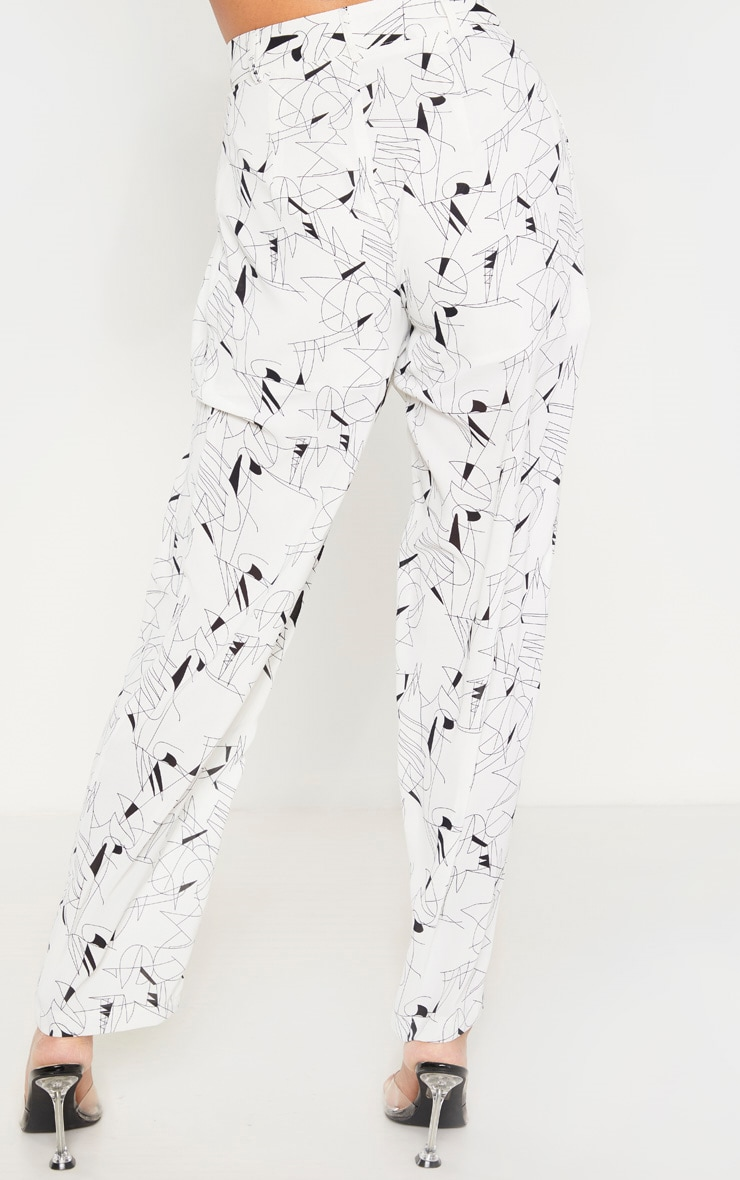 White Printed Woven High Waisted Cigarette Pants 4