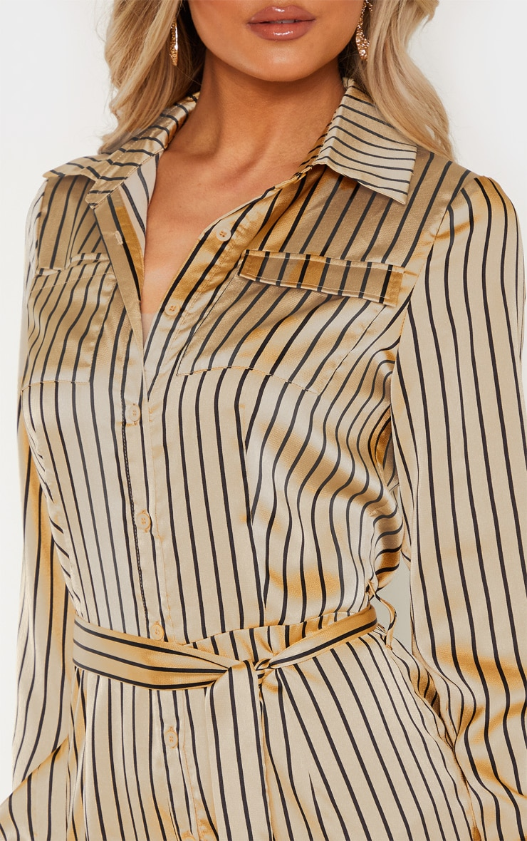 Tall Cream Stripe Square Pocket Long Sleeve Utility Jumpsuit 5