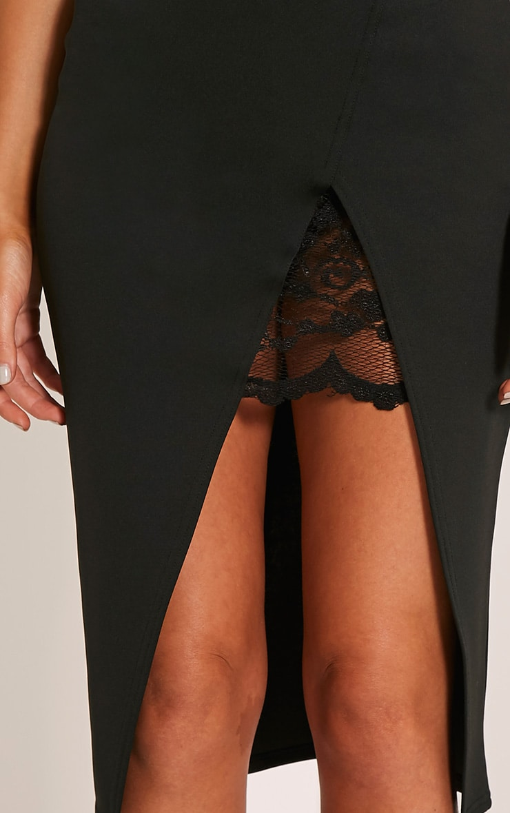 Zaria Black Lace Split Midi Skirt 6