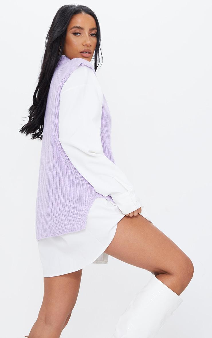 Lilac V Neck Knitted Side Split Vest 2