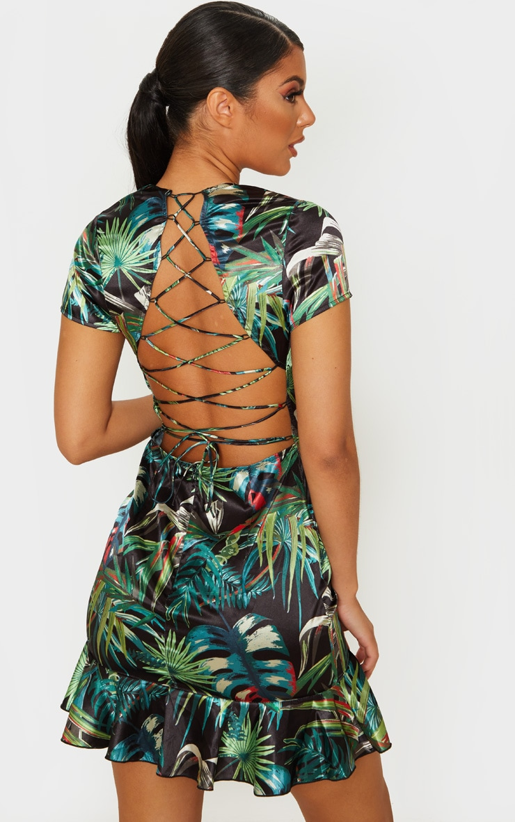 Black Tropical Leaf Criss Cross Back Frill Hem Bodycon Dress 1