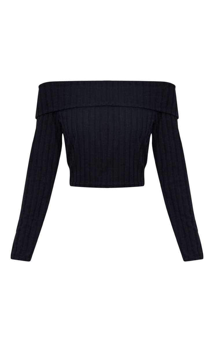 Black Bardot Rib Knit Top 3