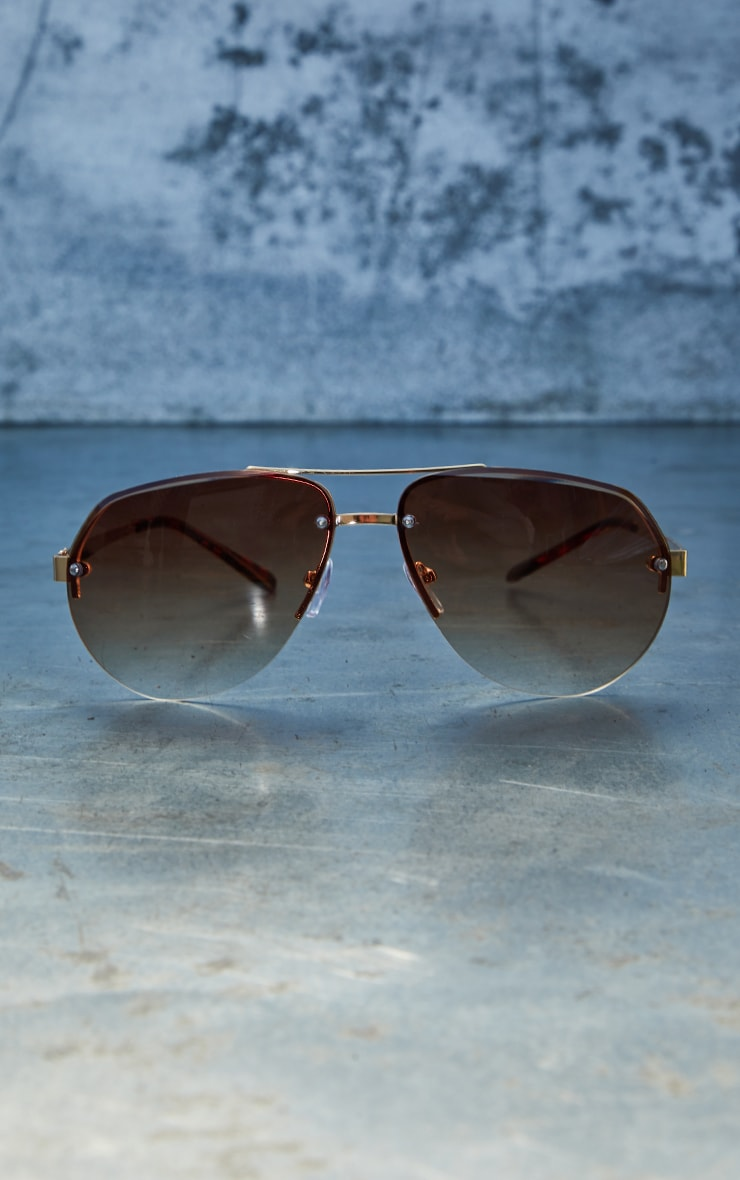 Brown Ombre Lens Aviator Sunglasses 2