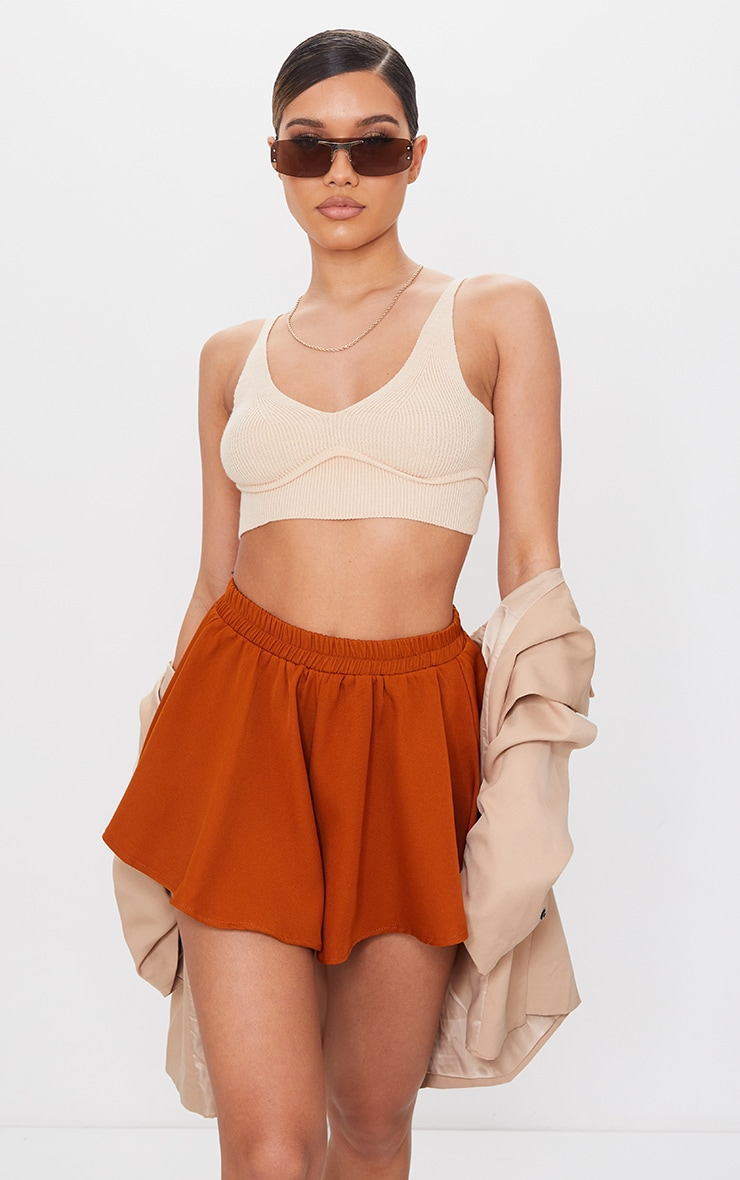 Rust High Waisted Floaty Shorts 1