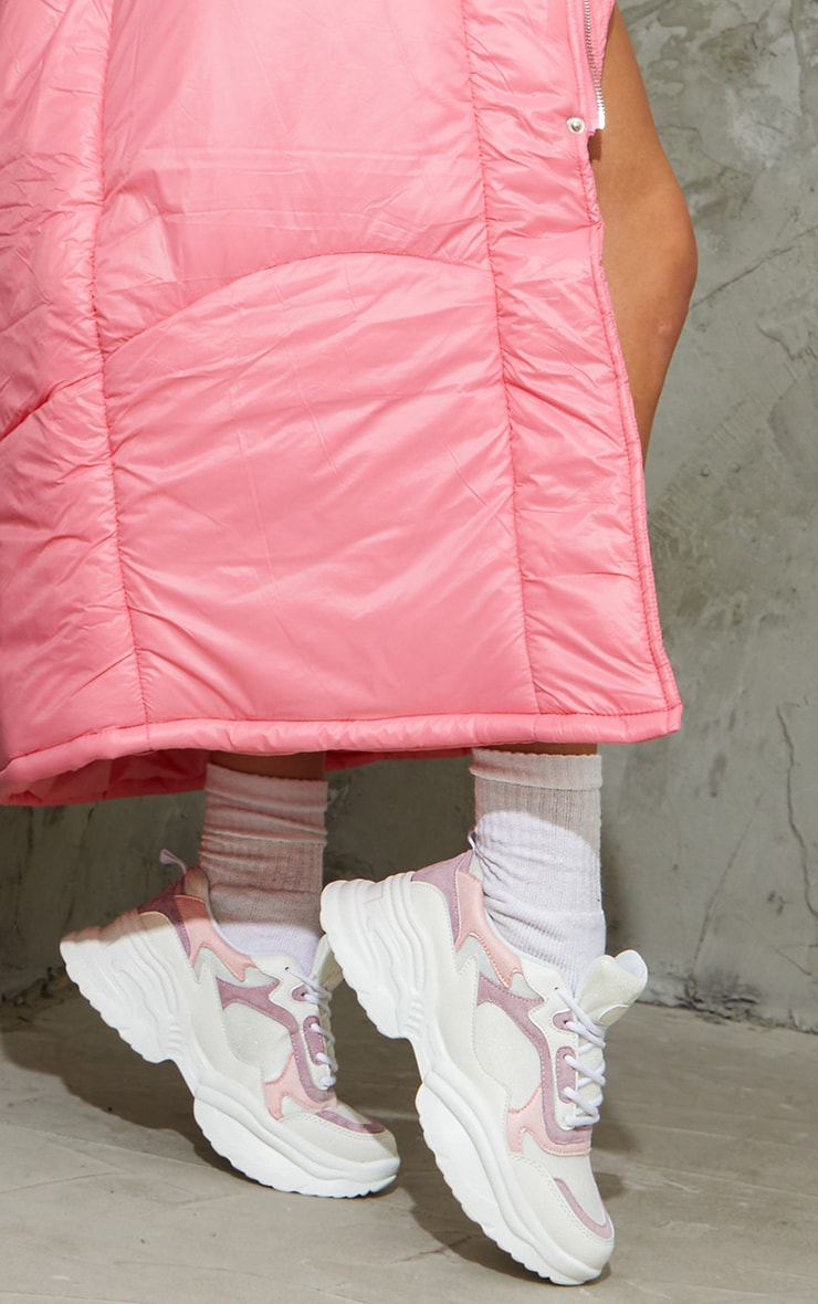 Pink PU Contrast Chunky Ridged Sole Sneakers 2