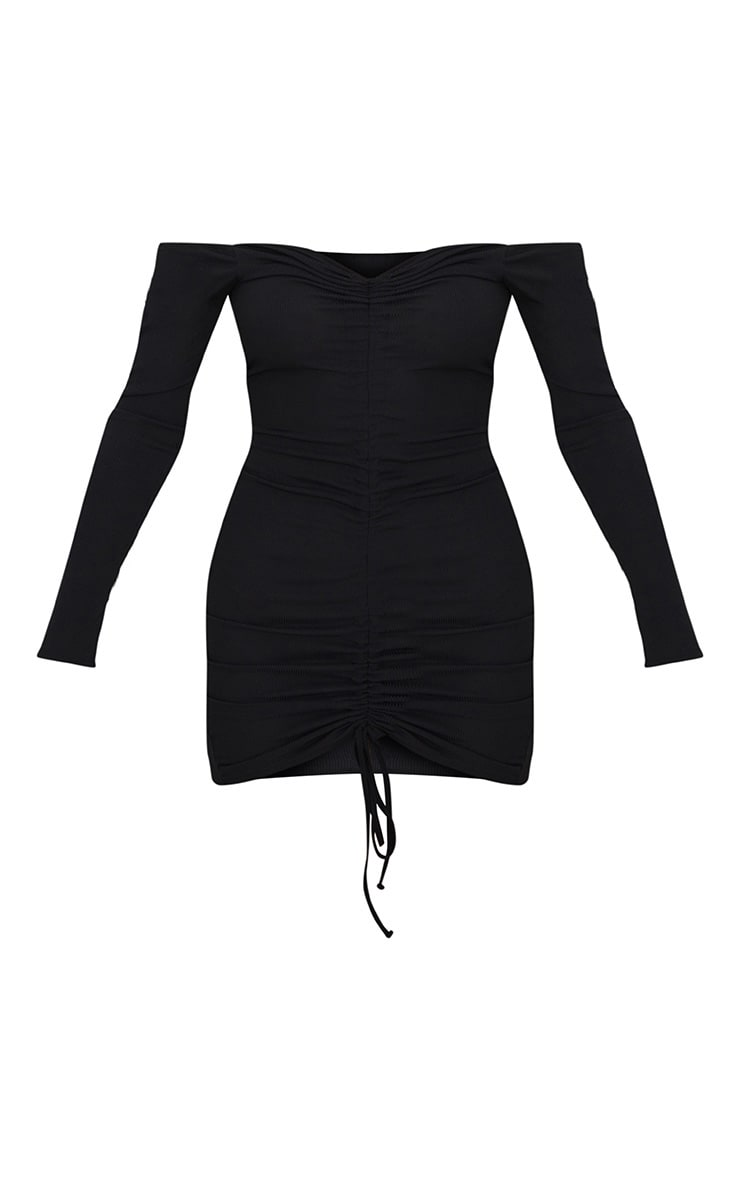 Black Ribbed Long Sleeve Bardot Ruched Bodycon Dress 3