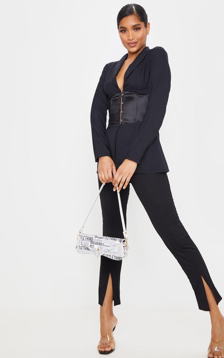 Black Woven Satin Contrast Corset Blazer 3