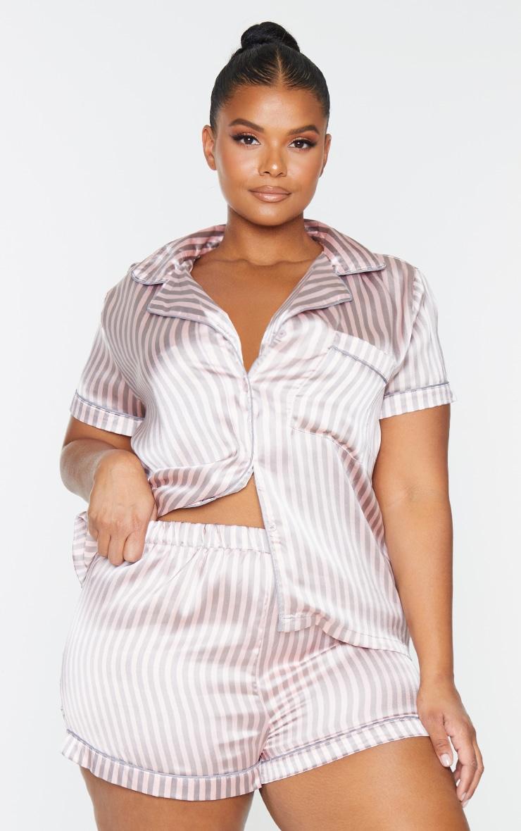 PLT Plus - Ensemble de pyjama satiné avec short à rayures grises et roses  3