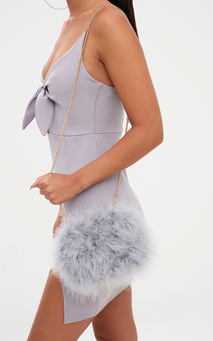 Grey Marabou Feather Clutch Bag