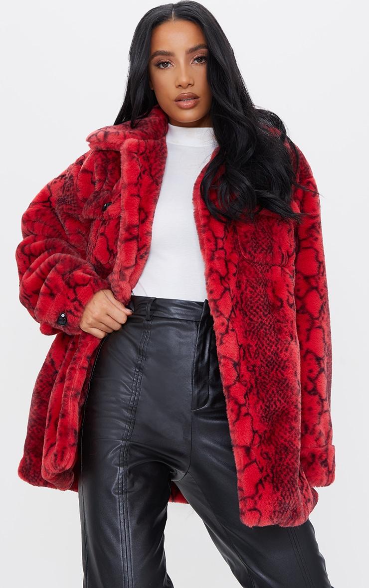 Red Snake Print Faux Fur Coat 1