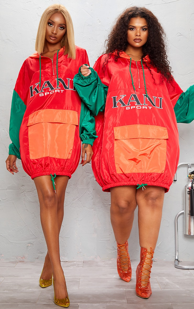 KARL KANI Red Colour Block Oversized Shell Dress 3