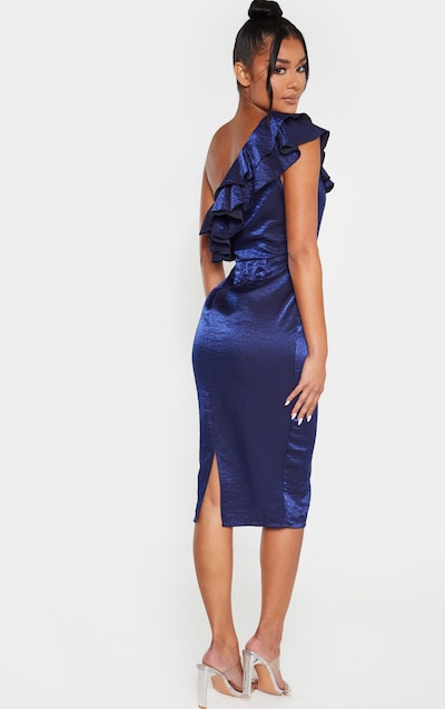 Navy Metallic One Shoulder Frill Midi Dress