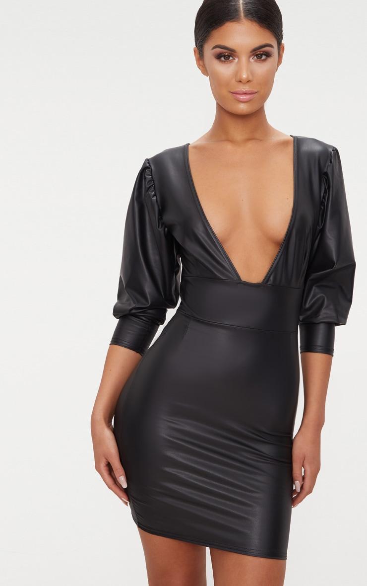 Black PU Long Sleeve Plunge Bodycon Dress 1