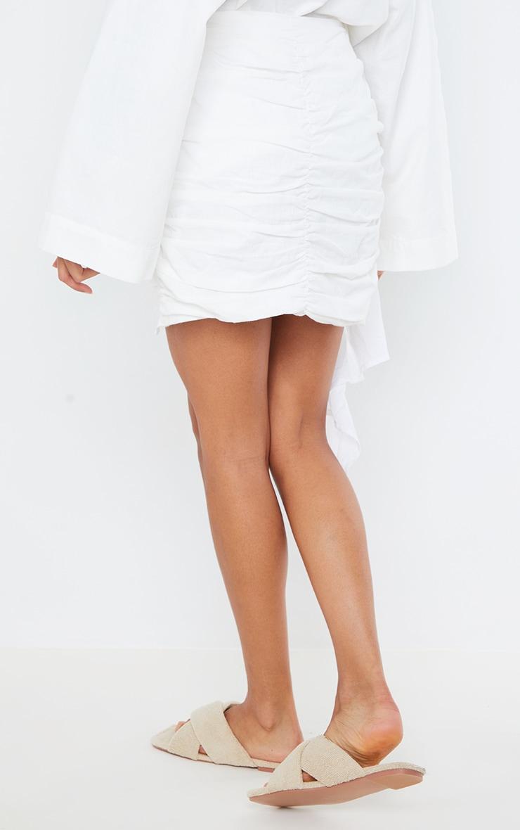 White Ruched Drape Front Linen Look Mini Skirt 3
