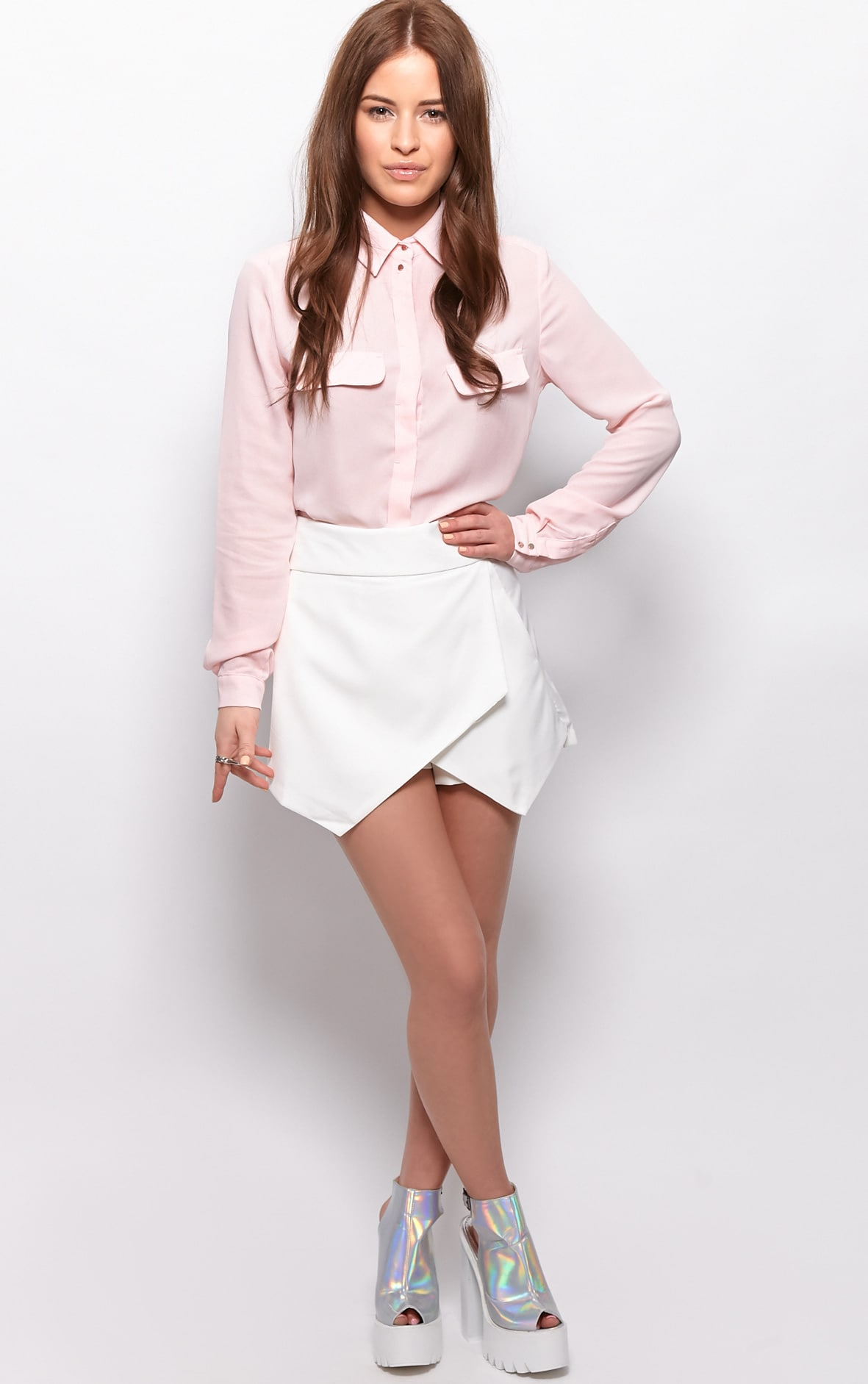 Gina White Tailored Skort  4