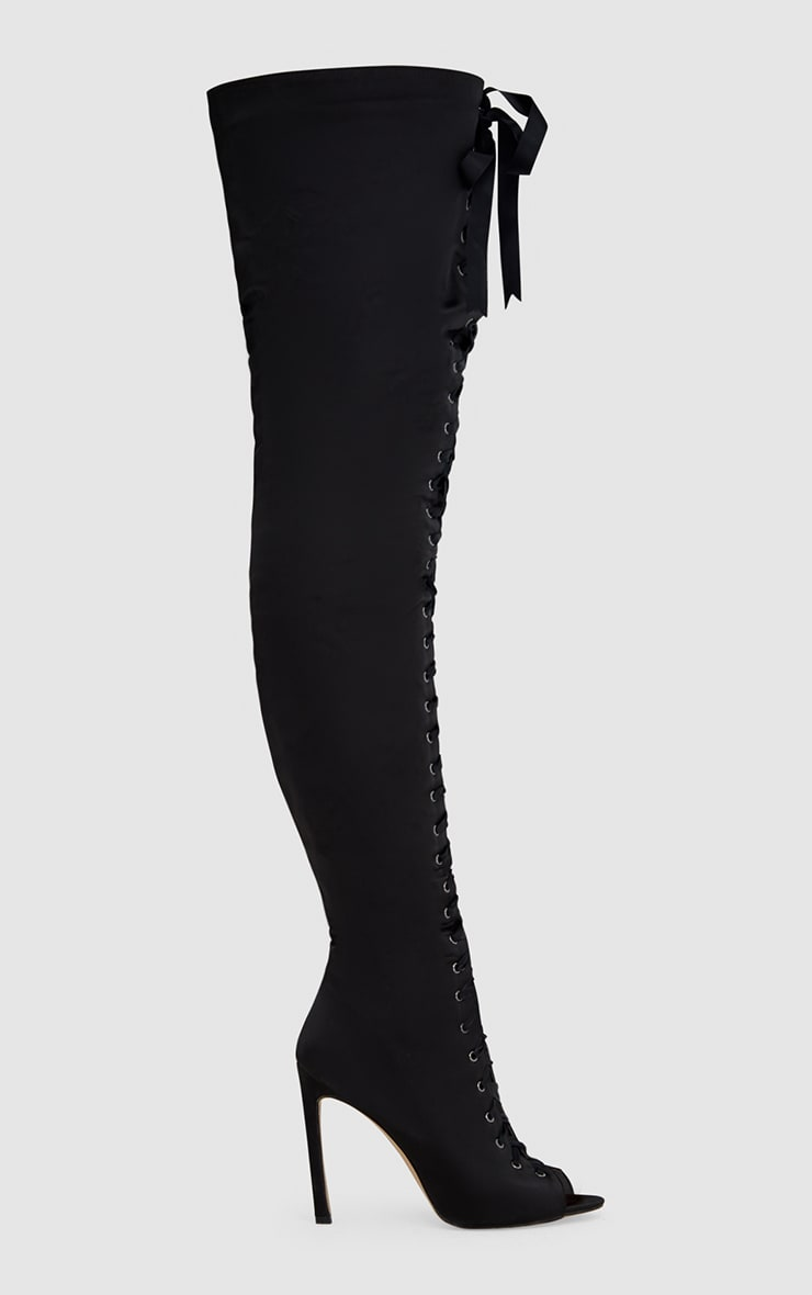 Black Satin Thigh High Lace Up Heeled Boots 3