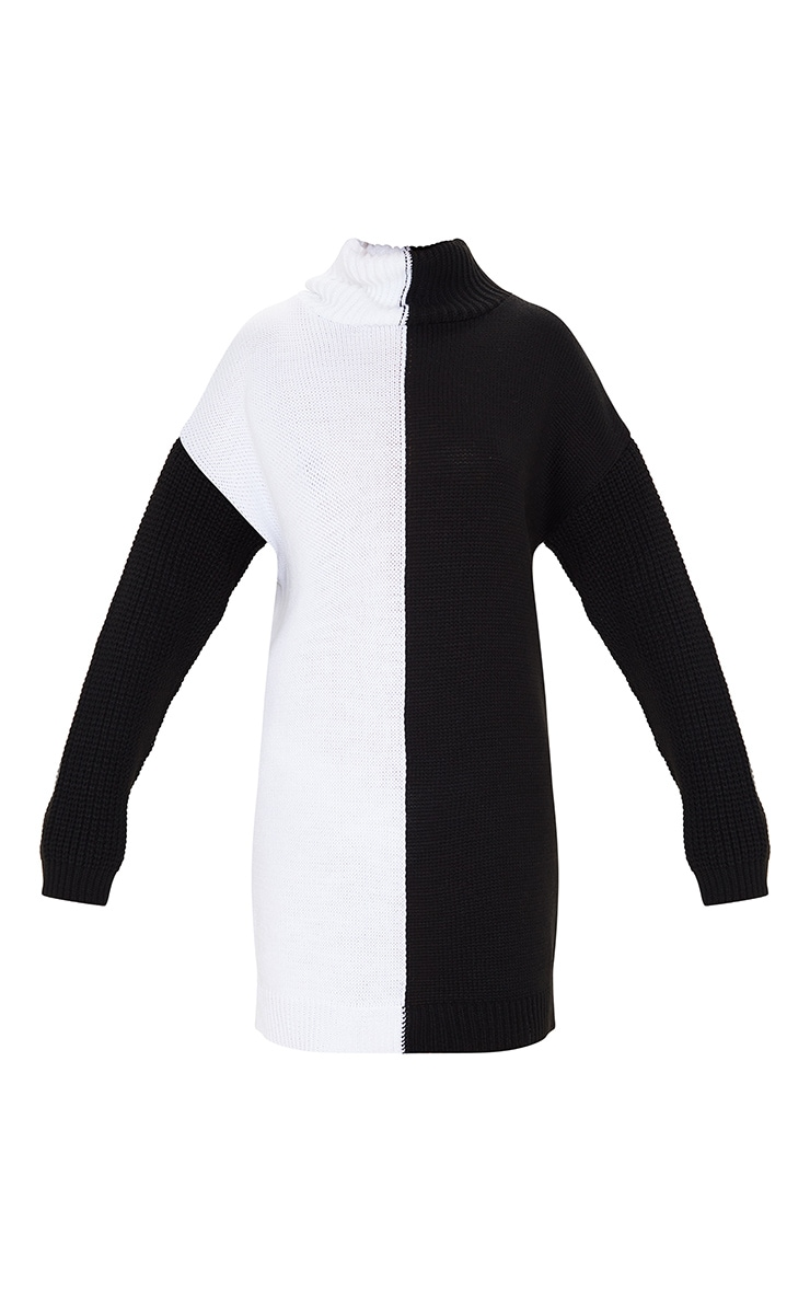 Black/White Color Block Roll Neck Sweater Dress 3