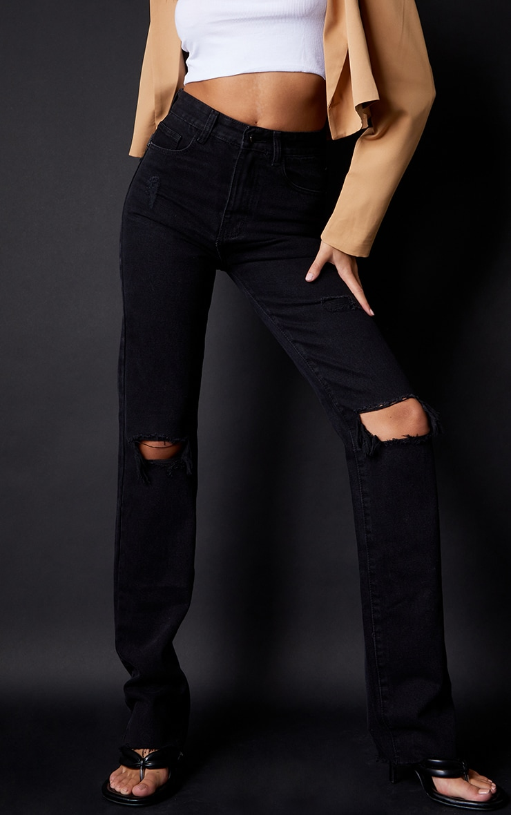 PRETTYLITTLETHING Tall Black Ripped Long Leg Straight Jeans 2
