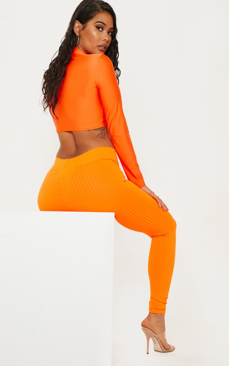 Neon Orange Ribbed High Waisted Legging