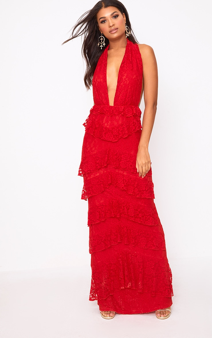 Red Lace Frill Detail Maxi Dress 1