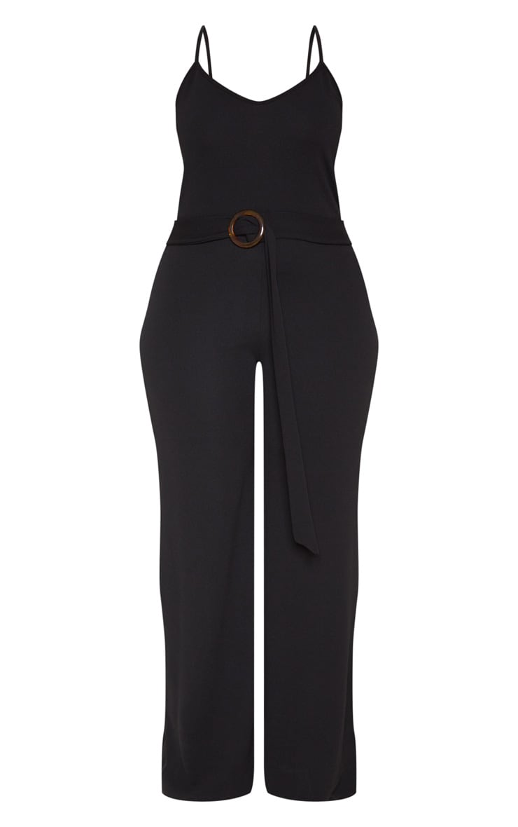 Plus Black Tortoise Shell Trim Detail Jumpsuit 3