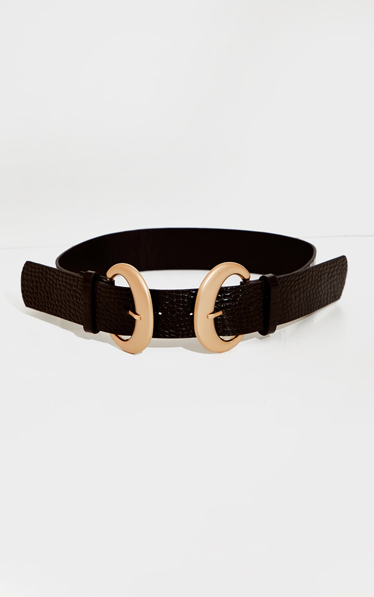 Black Croc Oversized Gold Buckle Waist Belt 2