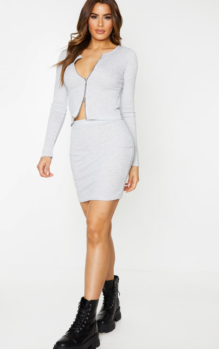 Tall Grey Ribbed Skirt 4