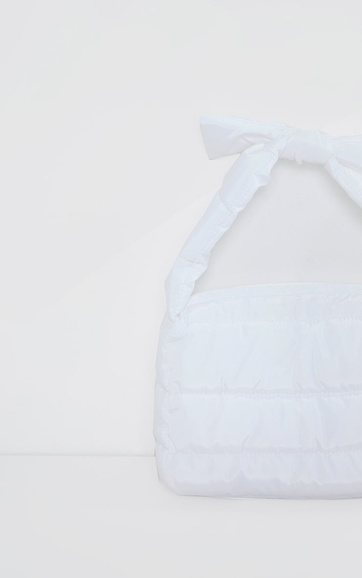 White Quilted Tie Strap Grab Bag 3