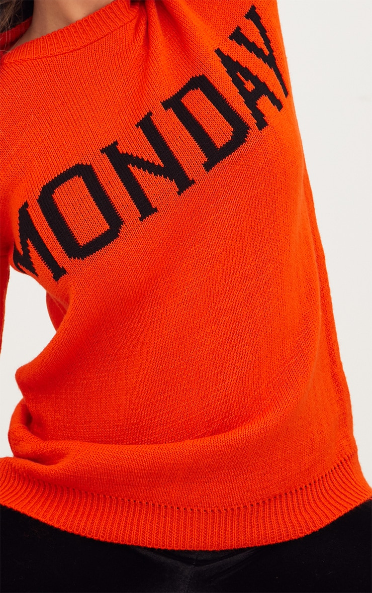 Orange Monday Slogan Jumper 5