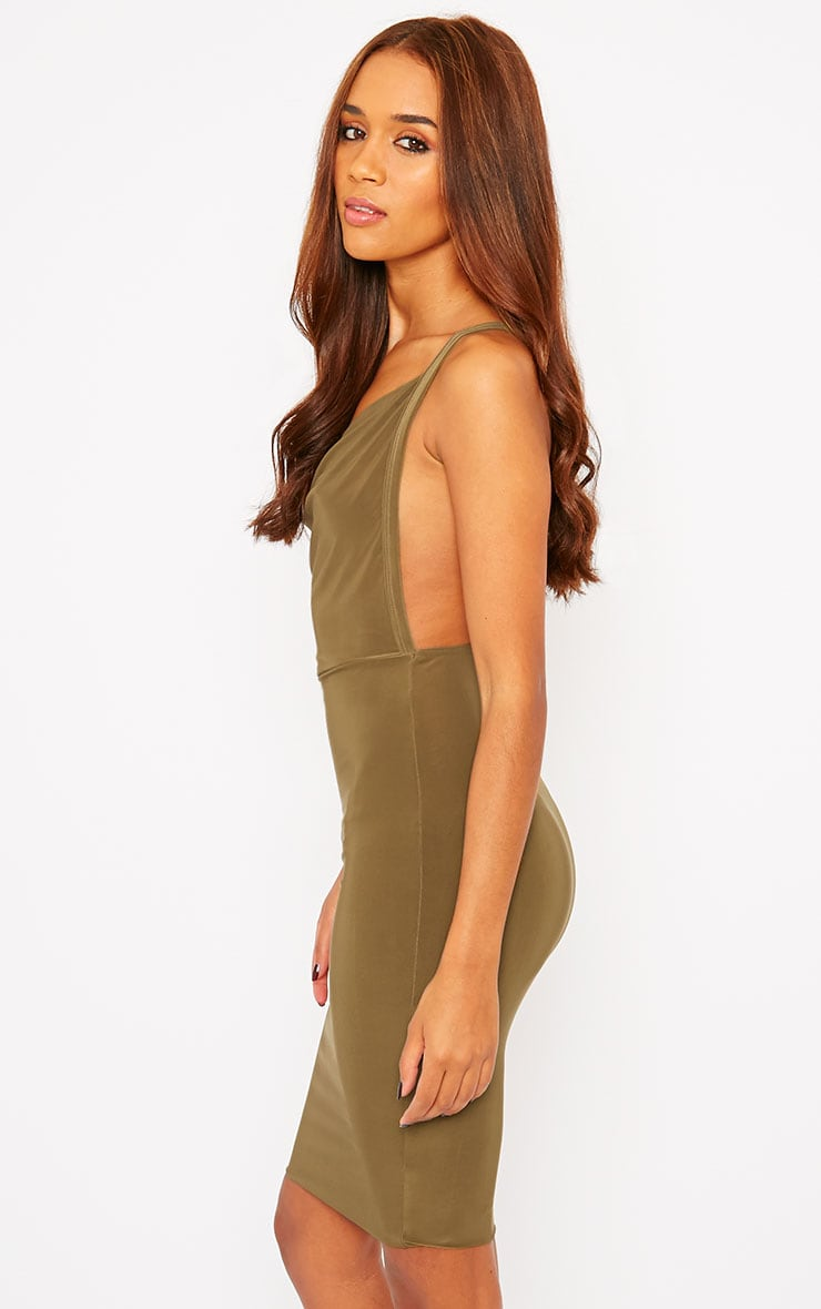 Orion Khaki Slinky Cowl Neck Dress 4