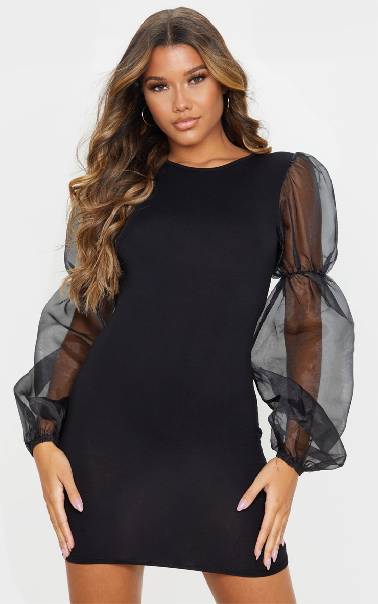 Black Organza Long Puff Sleeve Jersey Bodycon Dress 1